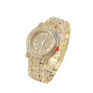 Other - Mens Iced Out Hip Hop Gold Watch